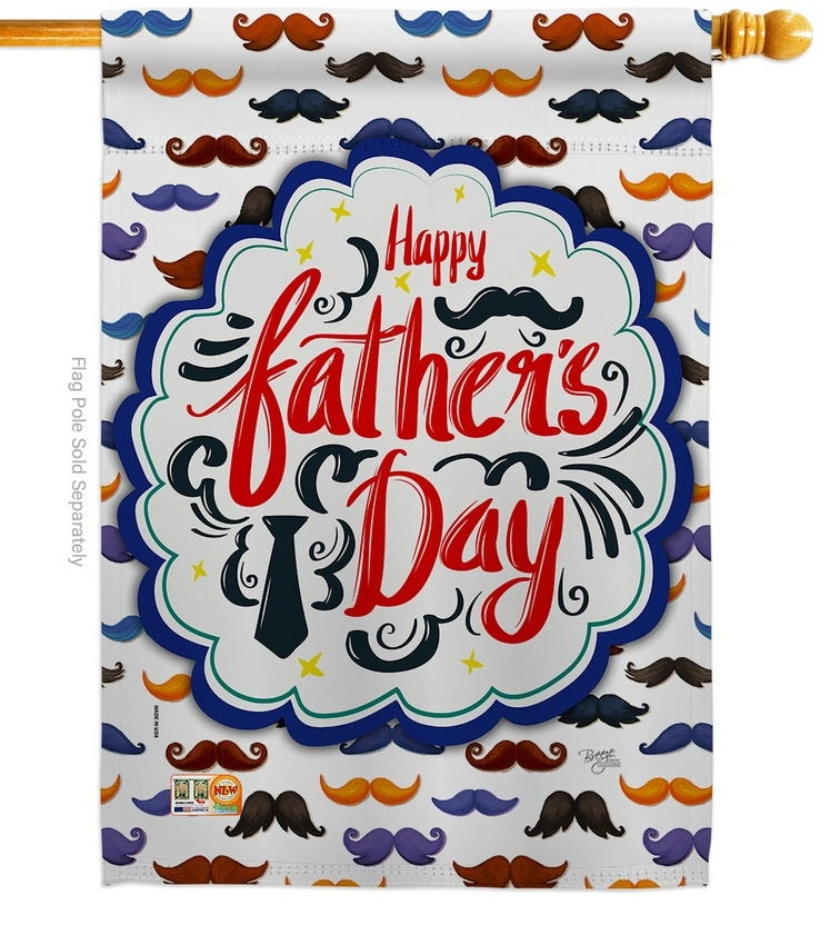 Happy Father's Day Mustache House Flag