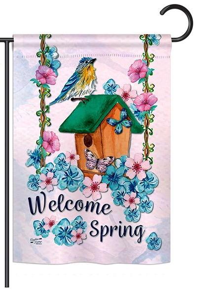 Welcome Spring Bird Garden Flag