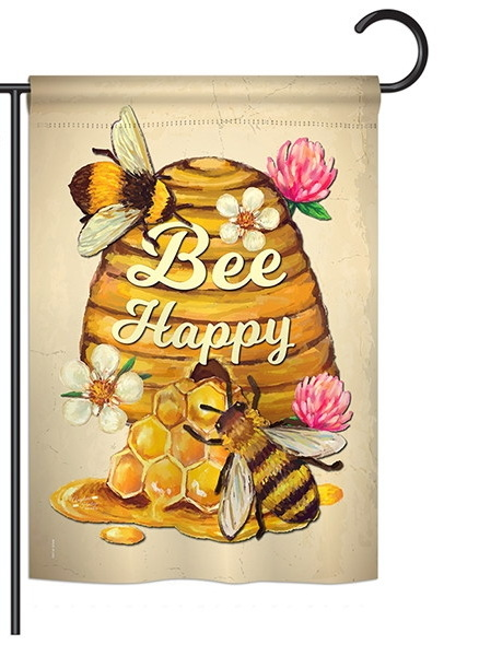 Bee Happy Beehive Garden Flag