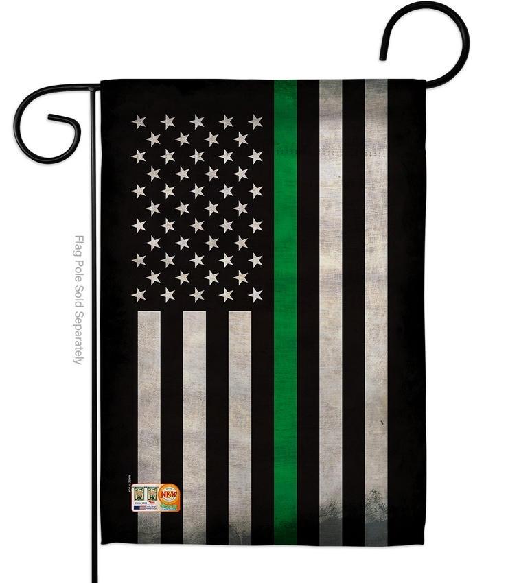 USA Thin Green Line Decorative Garden Flag