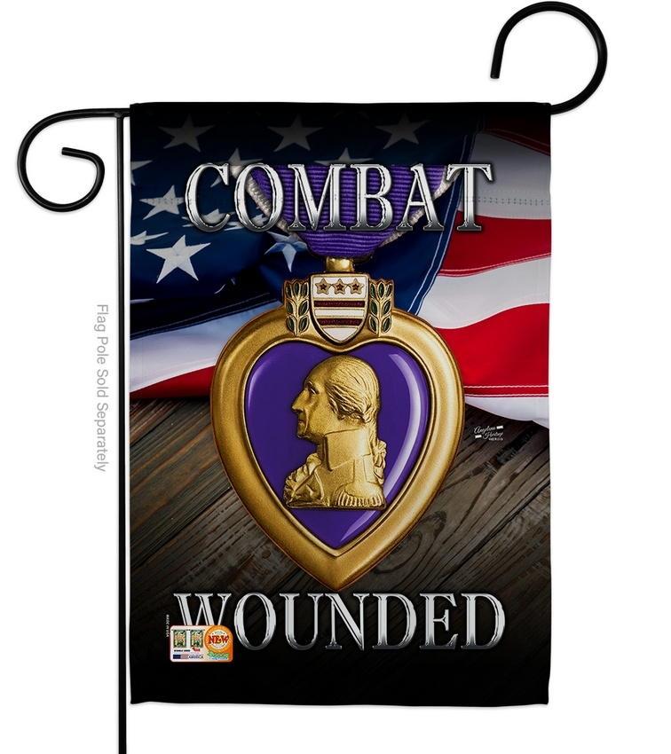 Purple Heart Combat Wounded Garden Flag