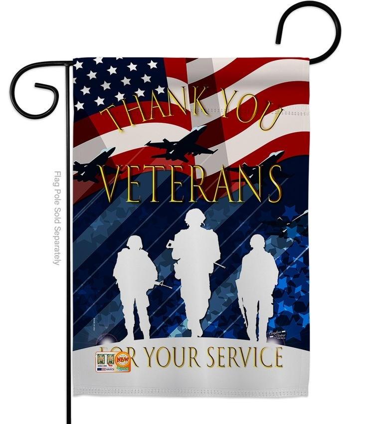 Thank You Veterans Decorative Garden Flag