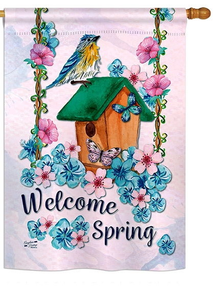 Welcome Spring Bird House Flag