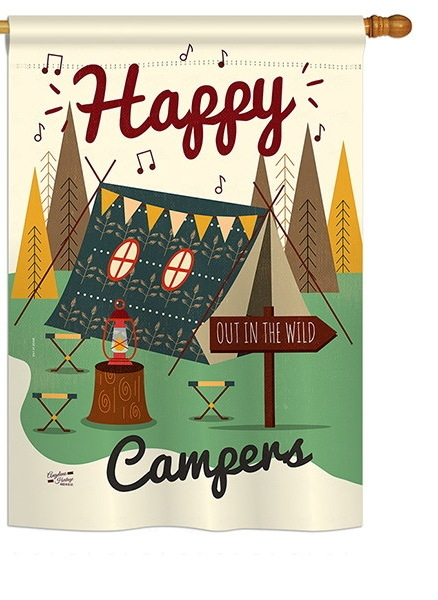 Happy Campers Out in the Wild House Flag