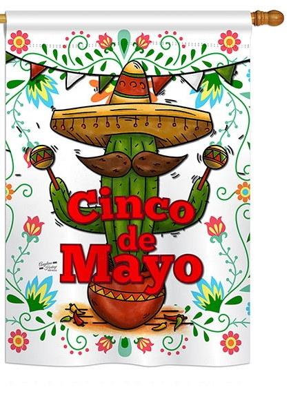 Cinco de Mayo Cactus House Flag