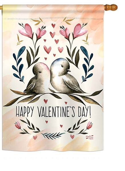 Love Birds Valentines House Flag