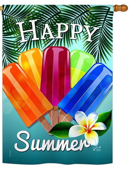Happy Summer Pop House Flag