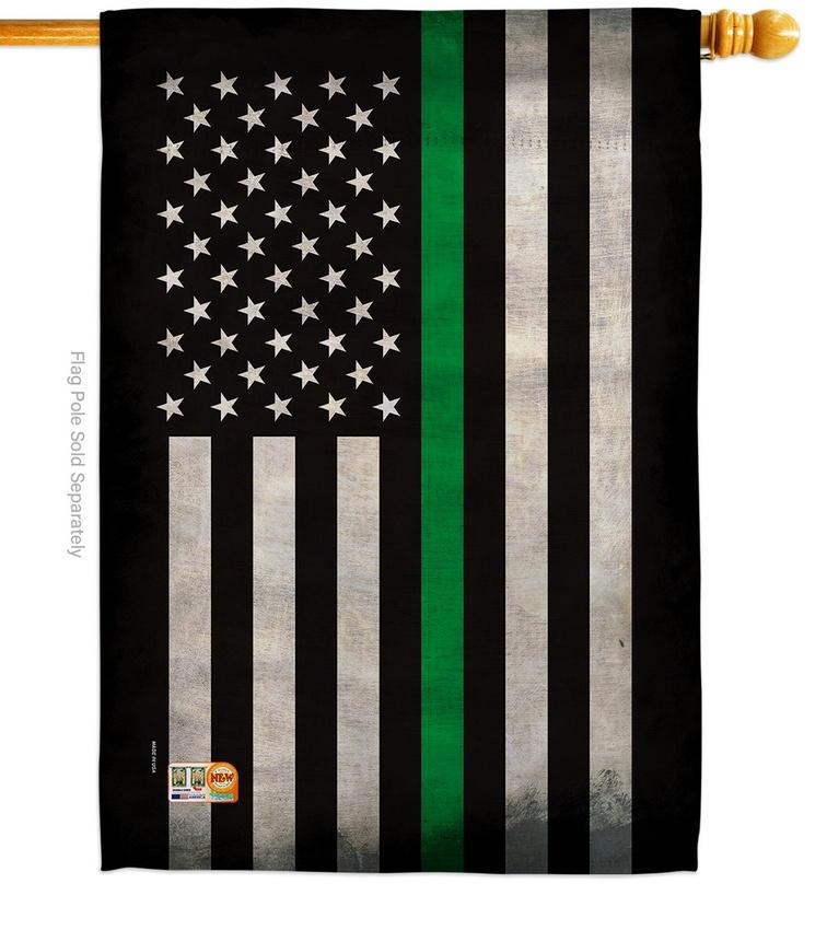 USA Thin Green Line Decorative House Flag