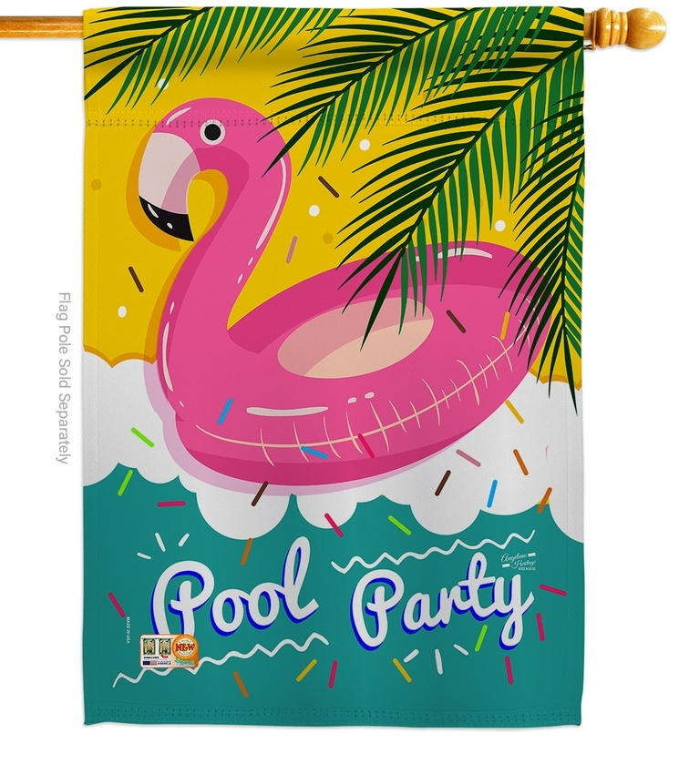 Summer Pool Party House Flag