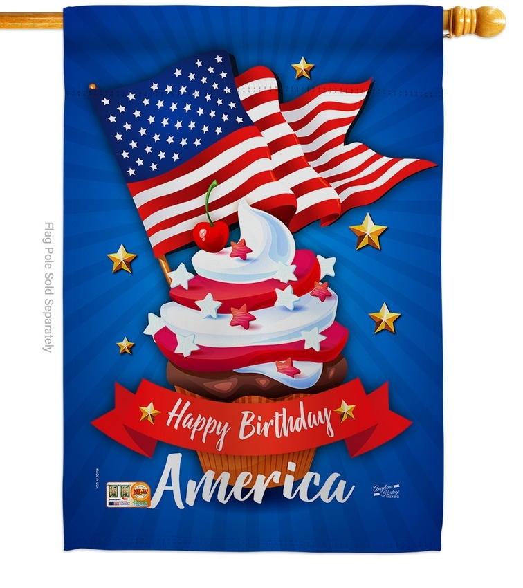 Happy Birthday America Decorative House Flag