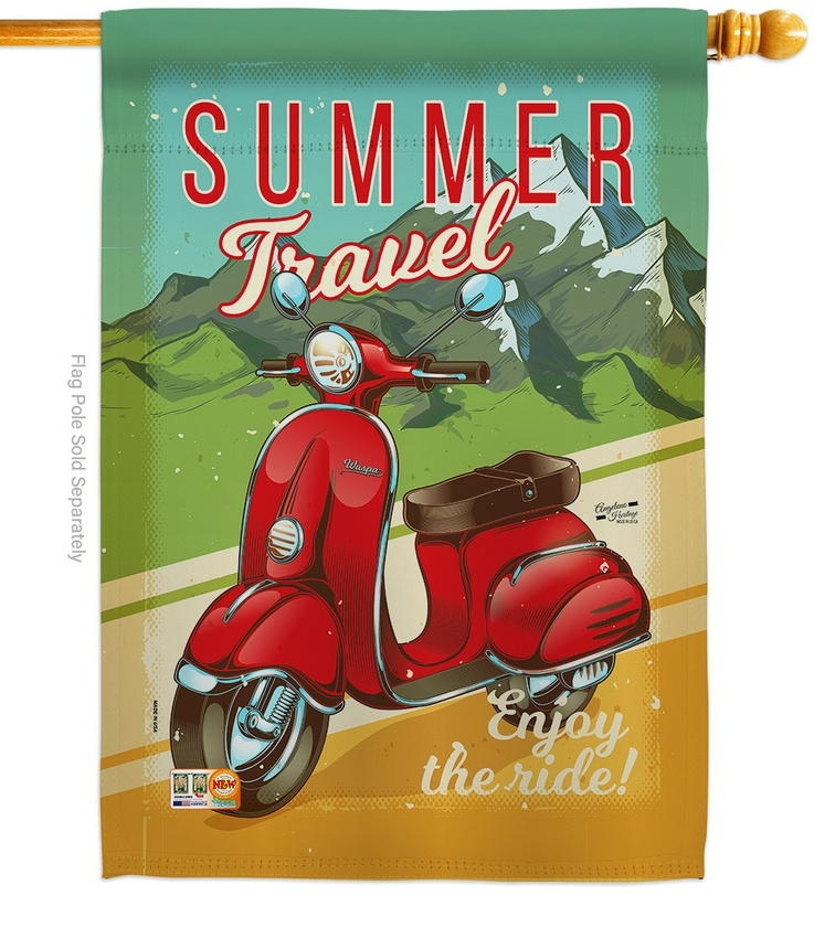 Summer Scooter Travel House Flag