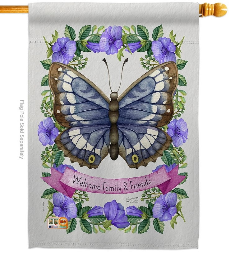 Floral Butterfly House Flag