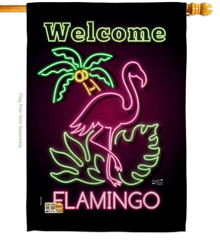 Welcome Neon Flamingo House Flag