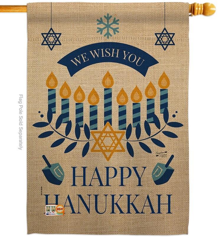 Wish You Happy Hanukkah House Flag
