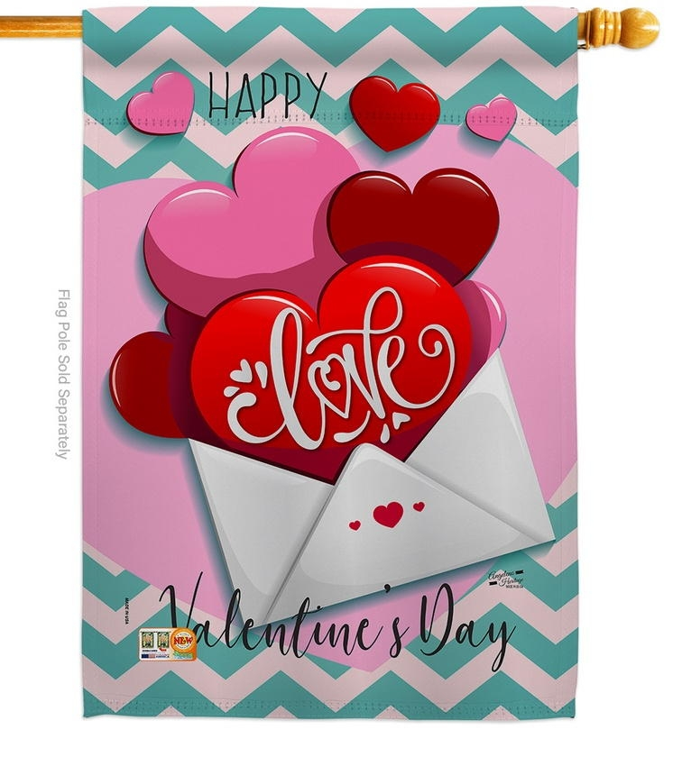 Send My Love Valentine's House Flag