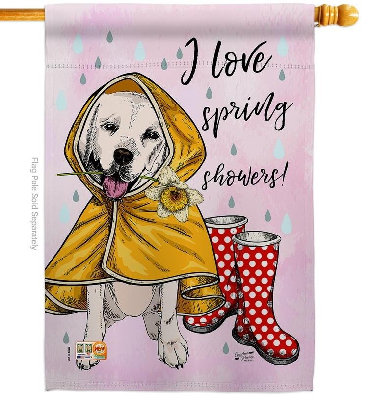 Love Spring Shower House Flag