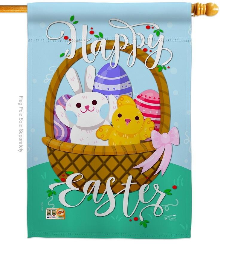 Happy Easter Basket Decorative House Flag