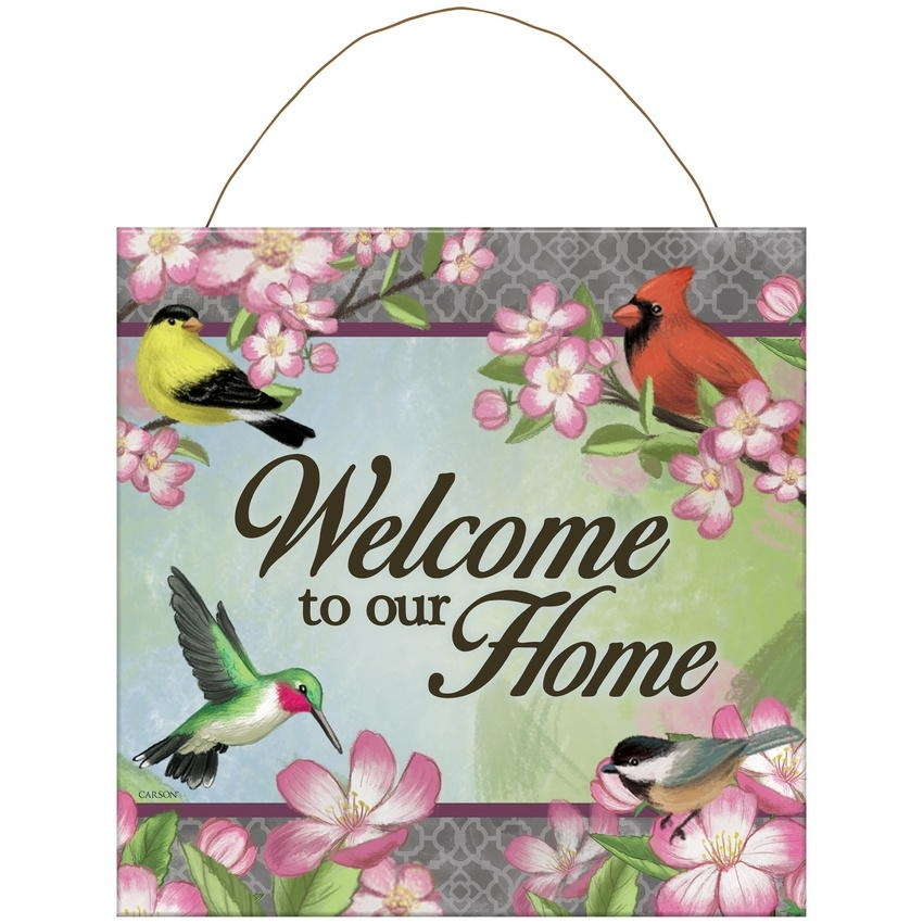 Floral Songbird Metal Wall Sign