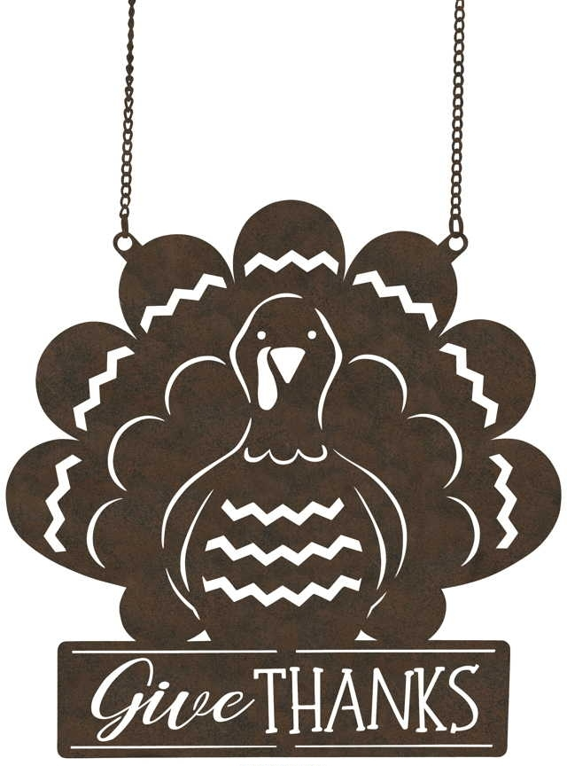 Give Thanks Turkey Metal Garden Flag