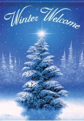Winter Welcome Tree House Flag