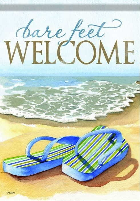 Bare Feet Welcome House Flag