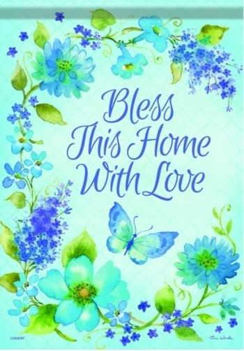 Blue Blossom Blessings Garden Flag