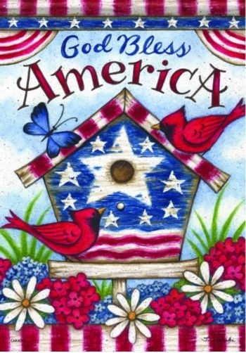 Americana Birdhouse House Flag