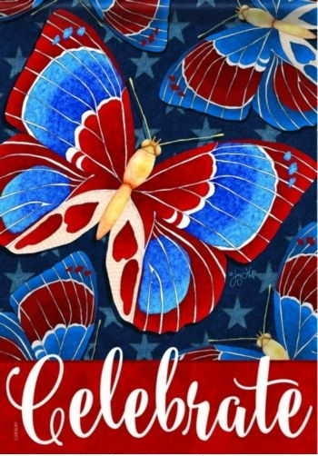 Americana Butterflies House Flag