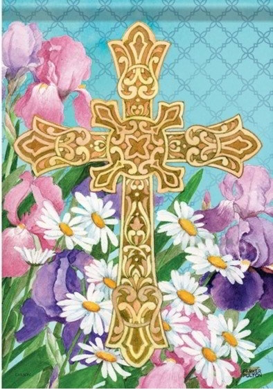 Easter Flower Cross Dura Soft Garden Flag