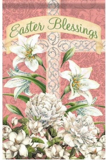 Easter Blessings Cross Dura Soft Glitter Garden Flag