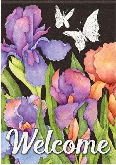Blooming Irises Dura Soft House Flag