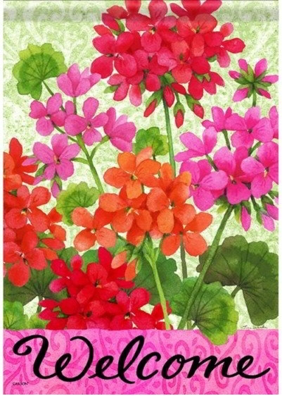 Joyful Geraniums Dura Soft House Flag