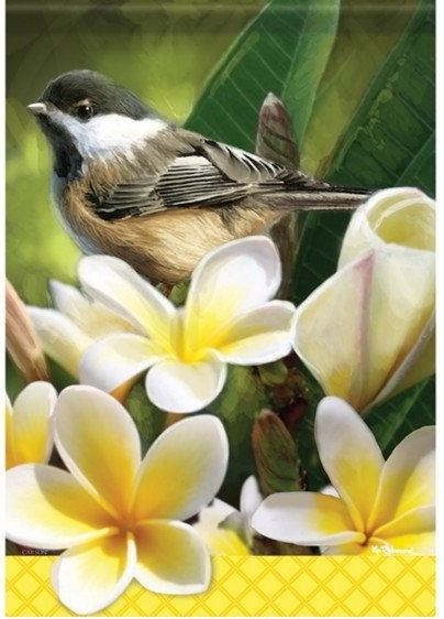Blossoming Chickadee Dura Soft Garden Flag