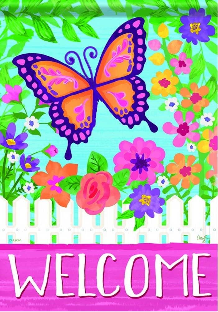 Butterfly Gate Garden Flag