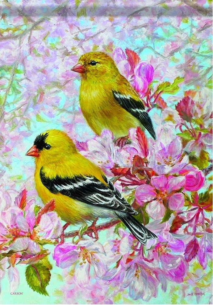 American Goldfinch Dura Soft Glitter Garden Flag