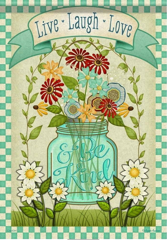 Mason Jar Floral House Flag