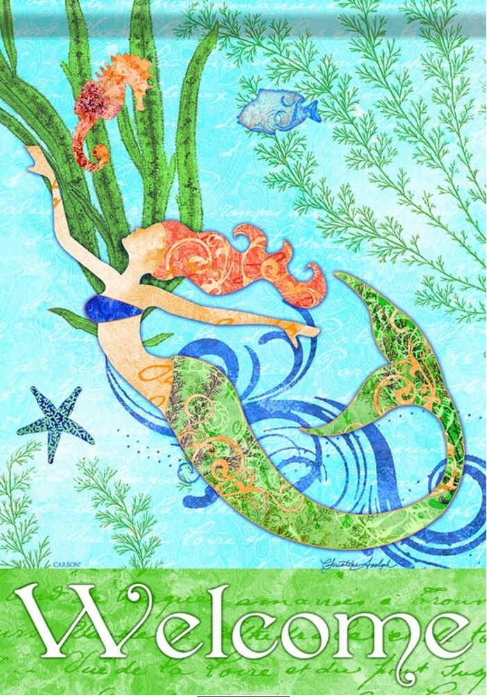 Mermaid Welcome House Flag