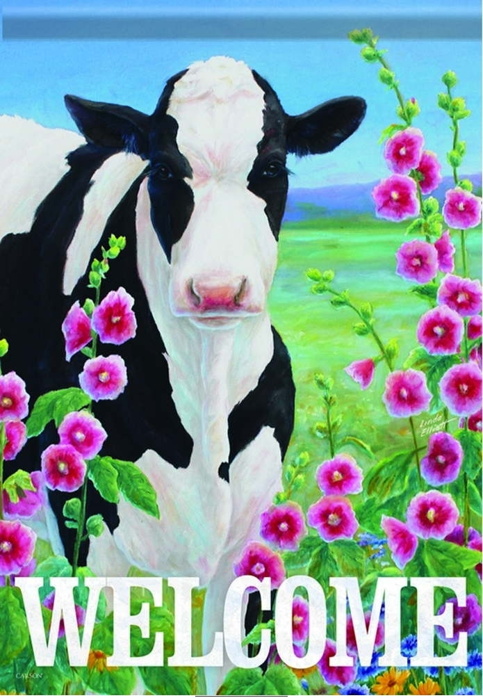 Holstein In Hollyhocks House Flag