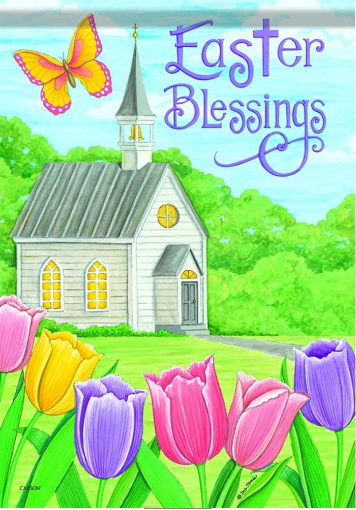 Easter Blessings Church House Flag