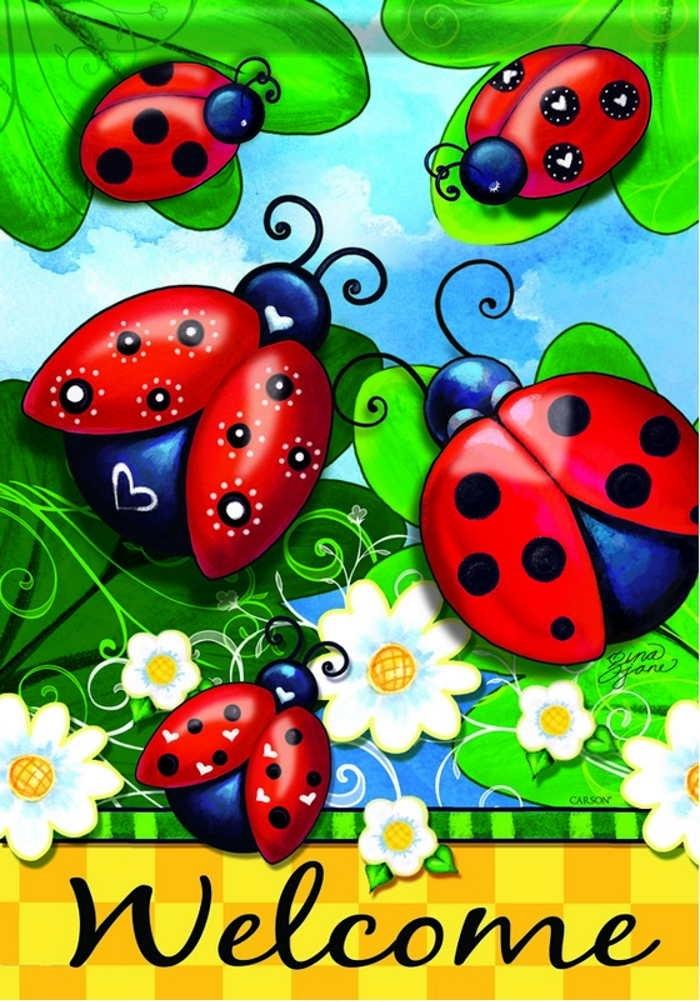 Lovely Ladybugs Dura Soft House Flag