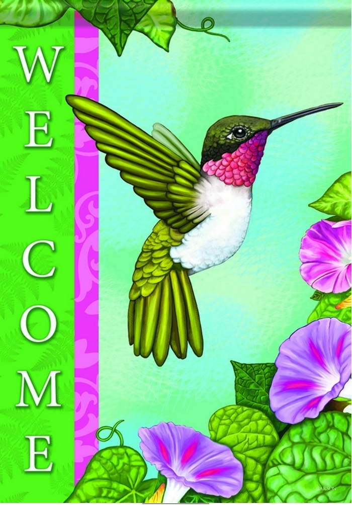 Happy Hummingbird House Flag