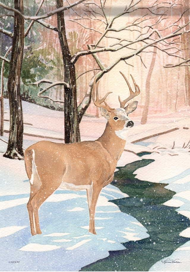 Winter Deer House Flag