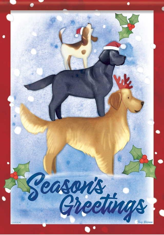 Christmas Dogs House Flag