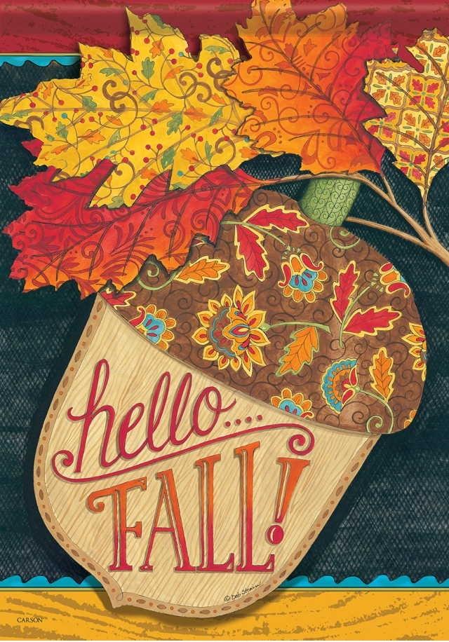 Hello Fall Acorn House Flag