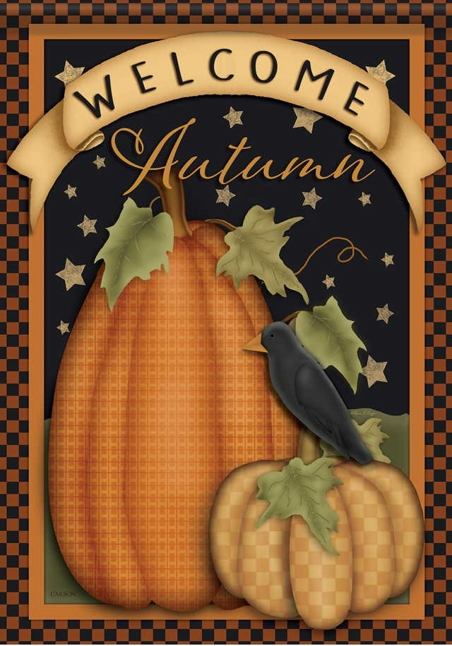 Primitive Pumpkin Welcome House Flag