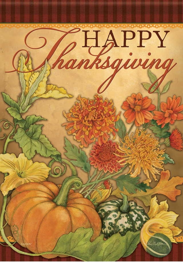 Thanksgiving Floral House Flag