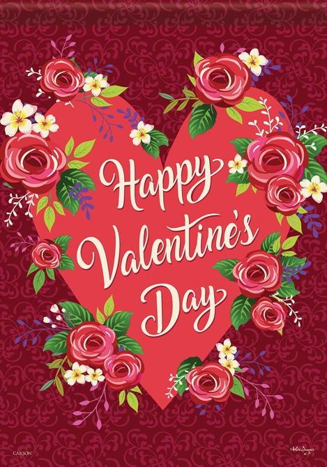 Roses/My Valentine House Flag