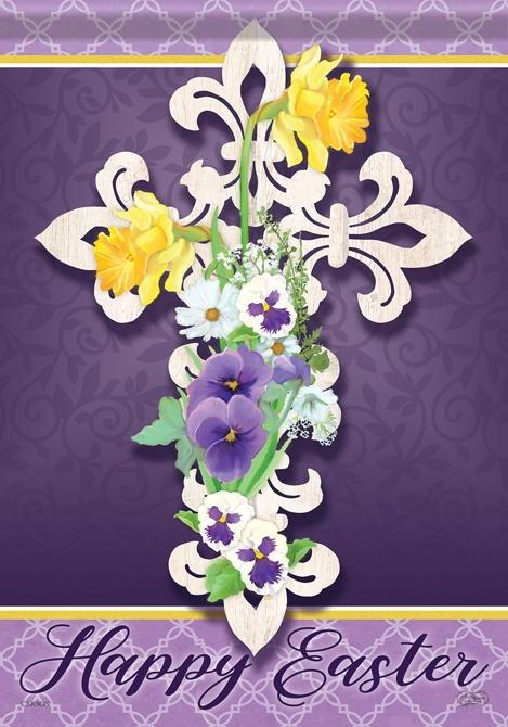 Happy Easter Cross House Flag