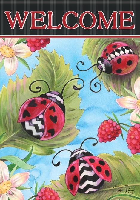 Ladybugs & Berries House Flag