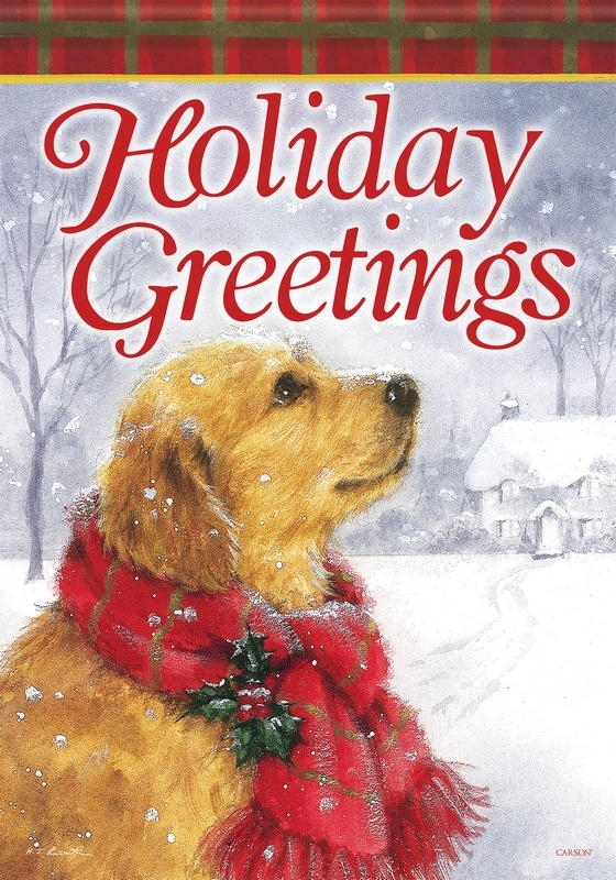 Friendly Holiday Greetings House Flag